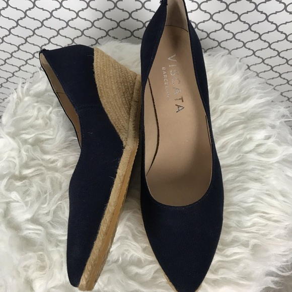 63e83391492 Viscata roses canvas Wedges | Navy | size 41